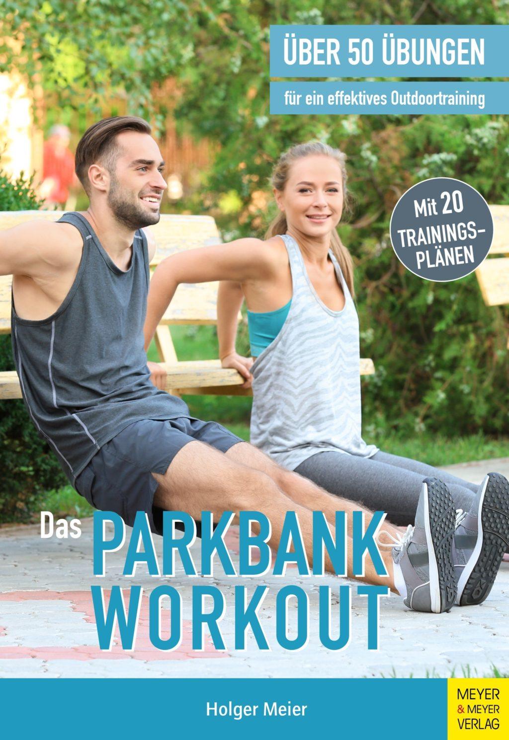 Frau und Mann beim Parkbank-Workout