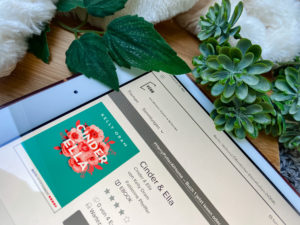 """Darstellung des EBooks """"Cinder&Ella"""" auf einem iPad"""