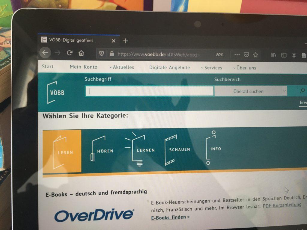 """Website der digitale Bibliothek VÖBB: Text """"E-Books... Overdrive"""""""