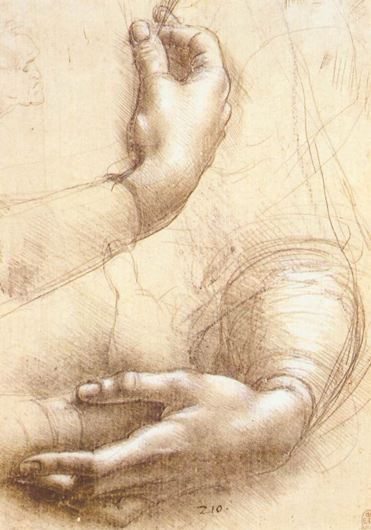 Zwie Hände mit liebevoller Geste - Skizze von Leonard da Vinci