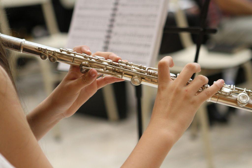 Musiker:in mit Querflöte