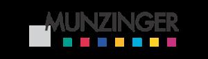 Logo der Informationsdatenbank MUNZIGER: schwarze Schrift in Großbuchstaben, darunter bunte Punkte als Unterstreichung