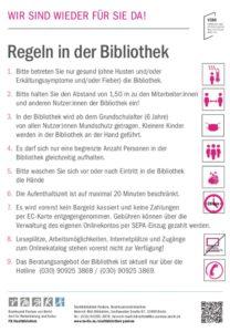 Plakat der Stadtbibliothek Pankow mit den Regeln zur Wiedereröffnung