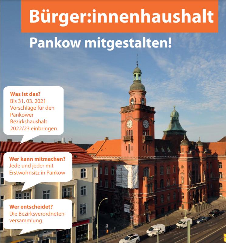 Plakat zum Bürger:innenhaushalt 2022/23 in Pankow