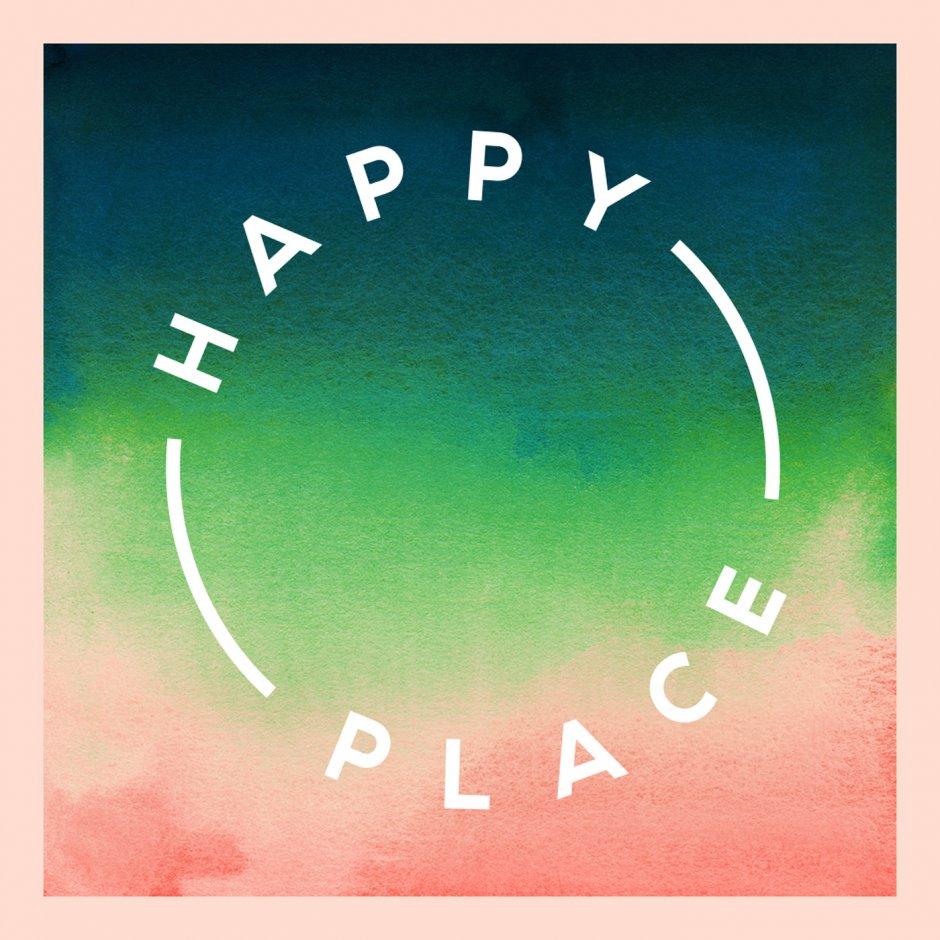 """Runder Kreis mit der Schrift """"Happy Place"""" - Logo des Podcasts von Fearne Cotton"""