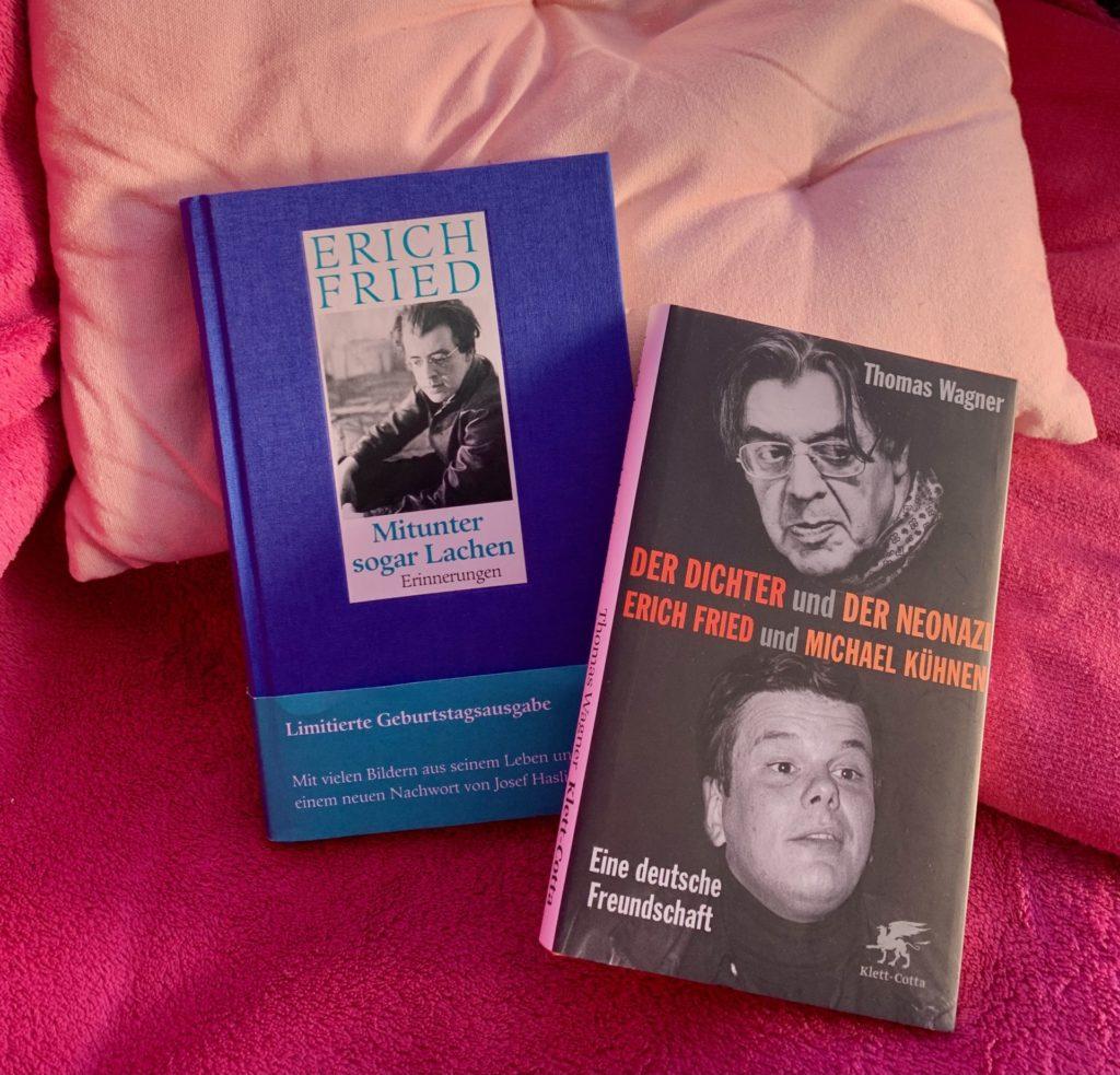 """Buchcover der Buchtitel """"Mitunter sogar Lachen"""" von Erich Fried und """"Der Dichter und der Neonazi"""" von Thomas Wagner, drapiert auf einer pinkfarbenen Decke und einem rosafarbenen Kissen"""